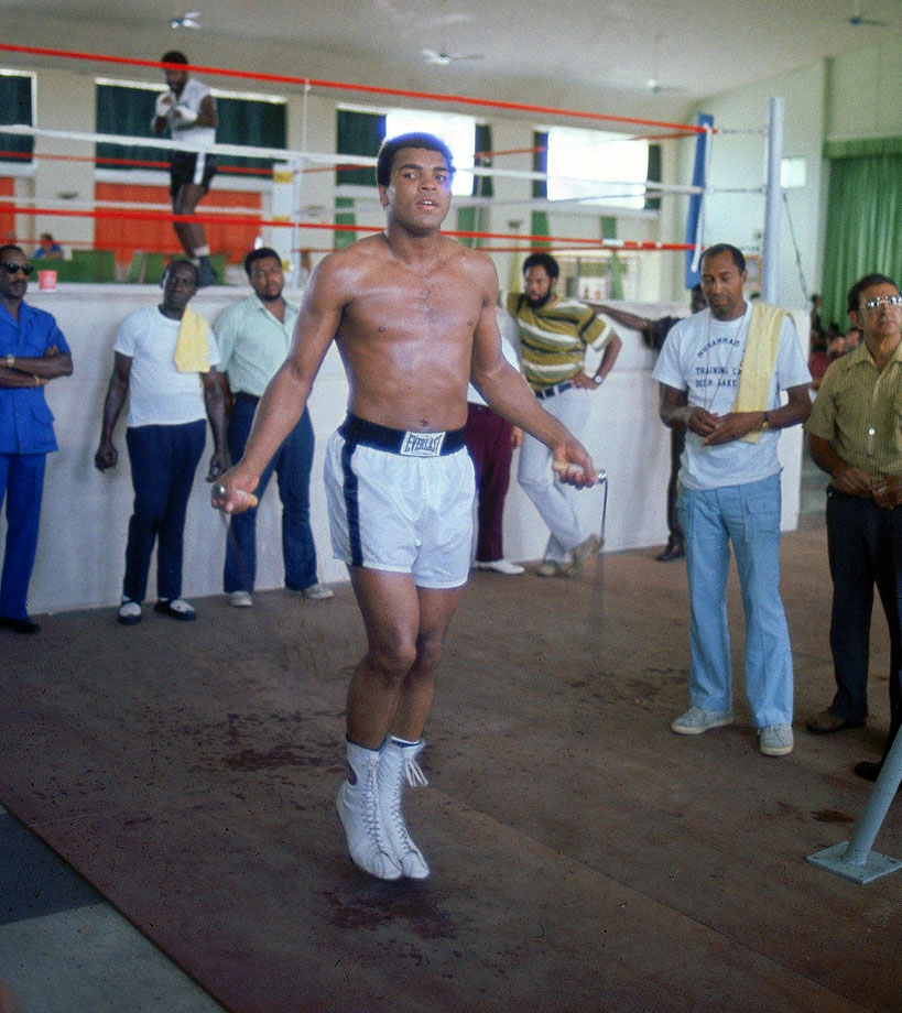 Ali jumps rope at the Salle de Congres in Kinshasa, Zaire, while training for his heavyweight title fight against George Foreman. Both Ali and Foreman spent most of the summer of 1974 training in Zaire to adjust to the climate.