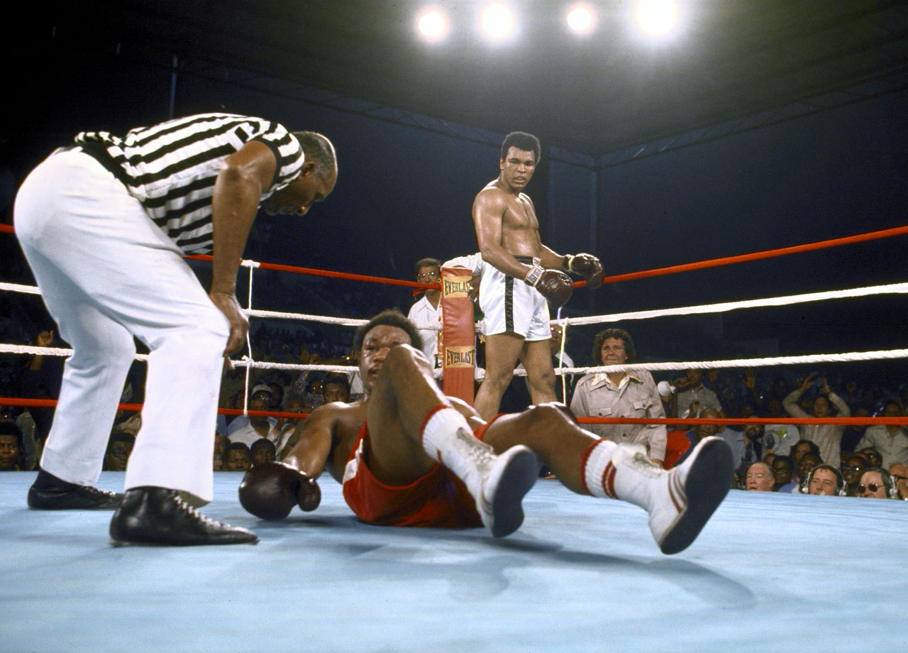With his final combination in the eighth round, Ali delivered a left hook and a hard right to send Foreman to the canvas.  That right hand proved to be it for Foreman, who swirled around the ring before landing on his back.  After eight grueling rounds, Ali was named victor by knockout.