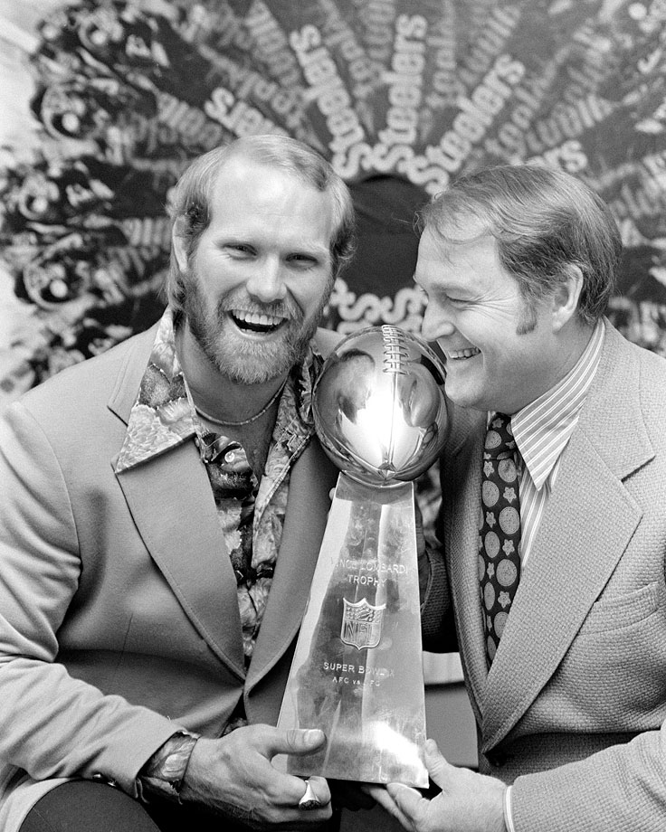Terry Bradshaw and Chuck Noll commemorate their 16-6 Super Bowl IX defeat over the Minnesota Vikings.