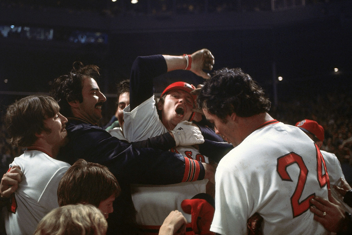 A dramatic Game 6 entered the 12th inning tied at six when Boston's Carlton Fisk led off against Pat Darcy. Fisk lofted a ball toward the left field foul pole and began waving his arms, imploring it to stay fair. It did, and the Red Sox had won arguably the best game in baseball history and forced a Game 7. Cincinnati, though, beat the Red Sox in that decisive game for its first title in 35 years.