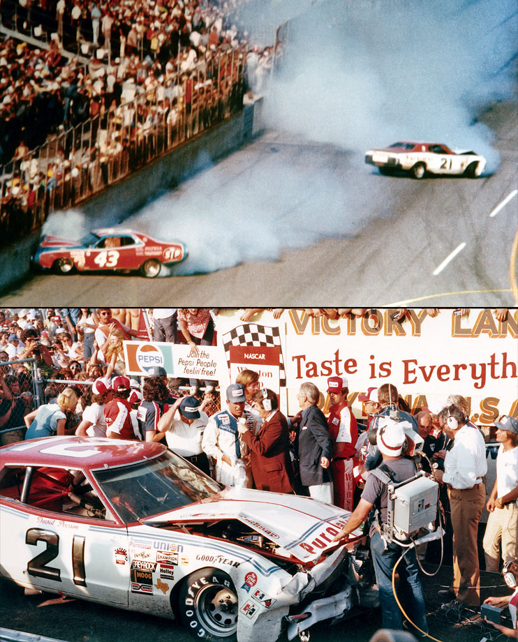 Richard Petty led on the final lap. Friend and rival David Pearson whipped past for the lead out of Turn 4. Petty made a last bid for the lead but nudged Pearson, sending both sliding onto the grass near the finish line. Petty was unable to re-fire, but Pearson nursed his car across the finish line for the victory.