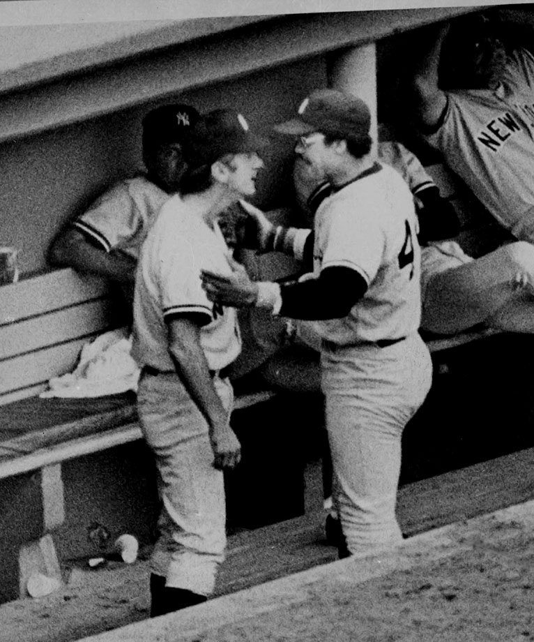 Martin's role as a scrapper was well established. While managing the Twins in 1969, he clocked pitcher Dave Boswell so hard that Boswell needed 20 stitches. In '77, Martin and superstar outfielder Reggie Jackson nearly came to blows on national TV in a Fenway Park dugout (pictured). And in 1985, Martin and Yankees pitcher Ed Whitson got into a wild brawl at the team's hotel in Baltimore that left the fiery skipper with a broken arm.