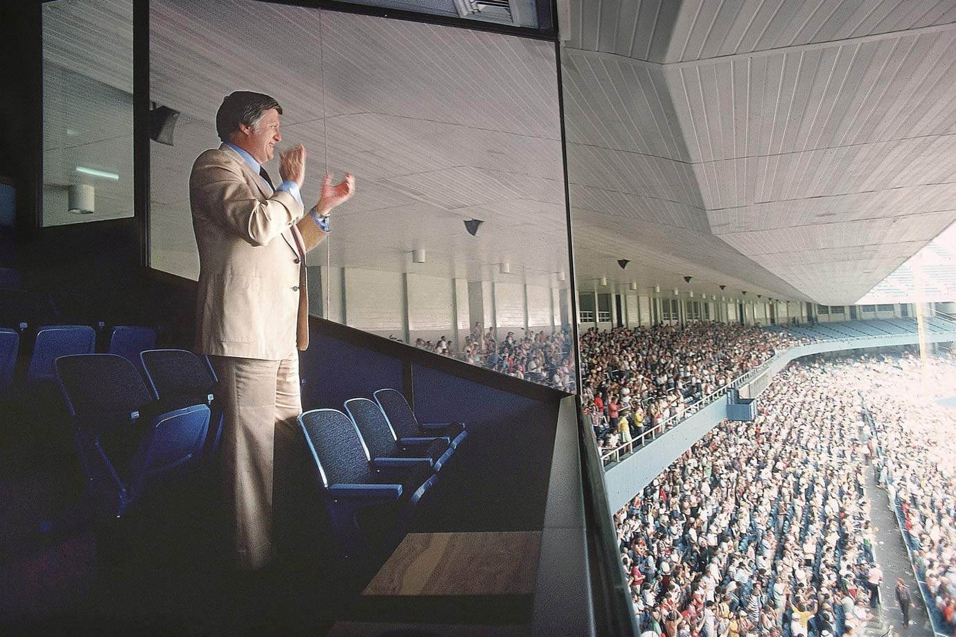 George Steinbrenner applauds from the owner's box during a game on Aug. 31, 1977 at Yankee Stadium in Bronx, N.Y.