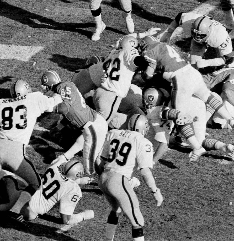 With his team down 7-3 in the third quarter, hard-hitting Raiders safety Jack Tatum appeared to force a Denver fumble on Oakland's two yard line. Unfortunately for the Raiders, the officials didn't see it that way, ruling that the Denver running back was down before the ball came out. The Broncos would score on the next play to take a 14-3 lead. They never gave it up; icing the game after Oakland made it 20-17 late in the fourth.