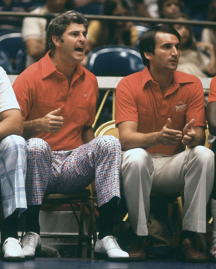 Bob Knight and Mike Krzyzewski sit on the bench during the 1979 Pan American games in San Juan, Puerto Rico.
