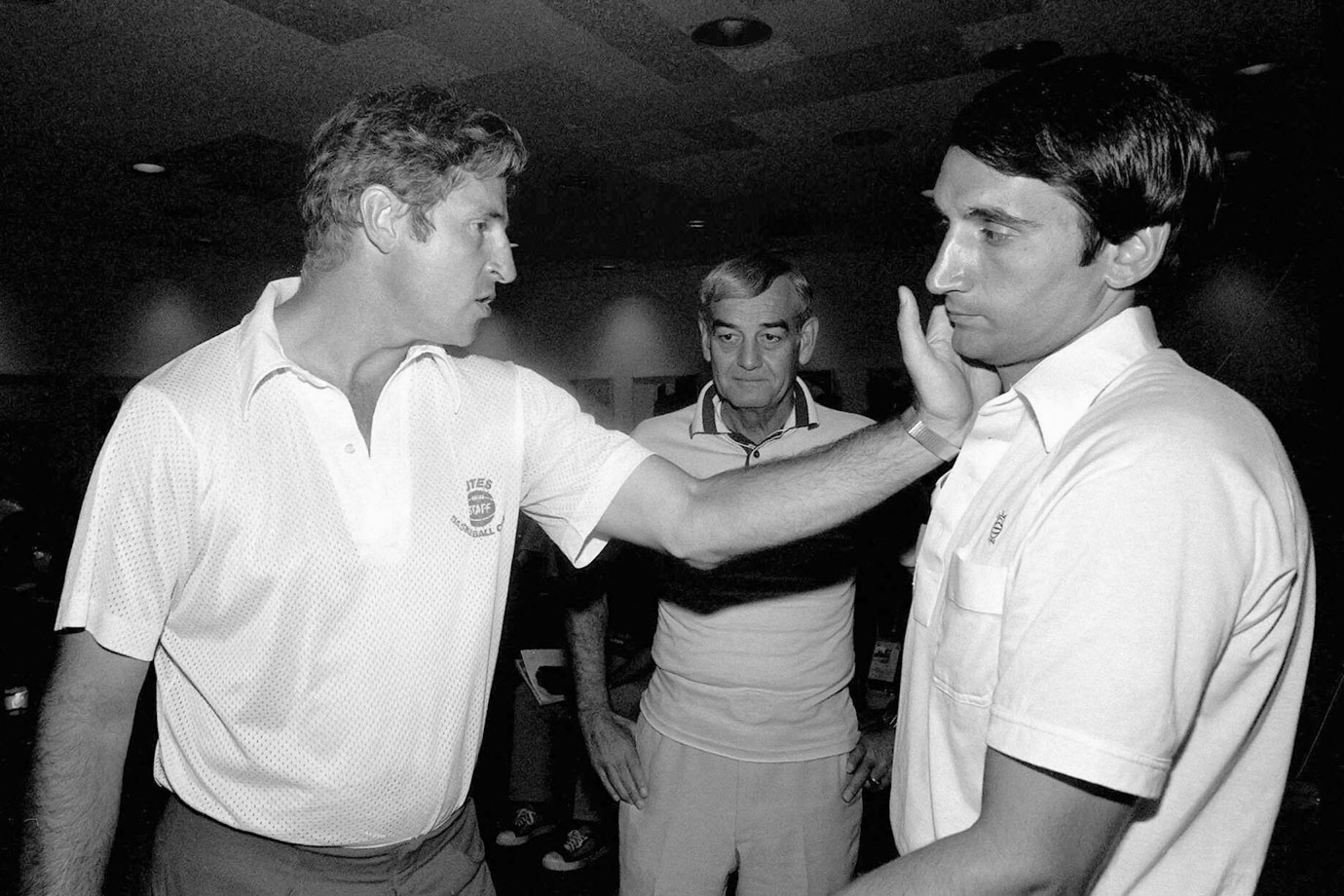 Bob Knight uses Mike Krzyzewski to explain his arrest in San Juan for getting into a pushing match with a Puerto Rican policeman. Krzyzewski was Knight's assistant at Indiana from 1974 to '75 and helped him coach the United States at the Pan American games in 1979.