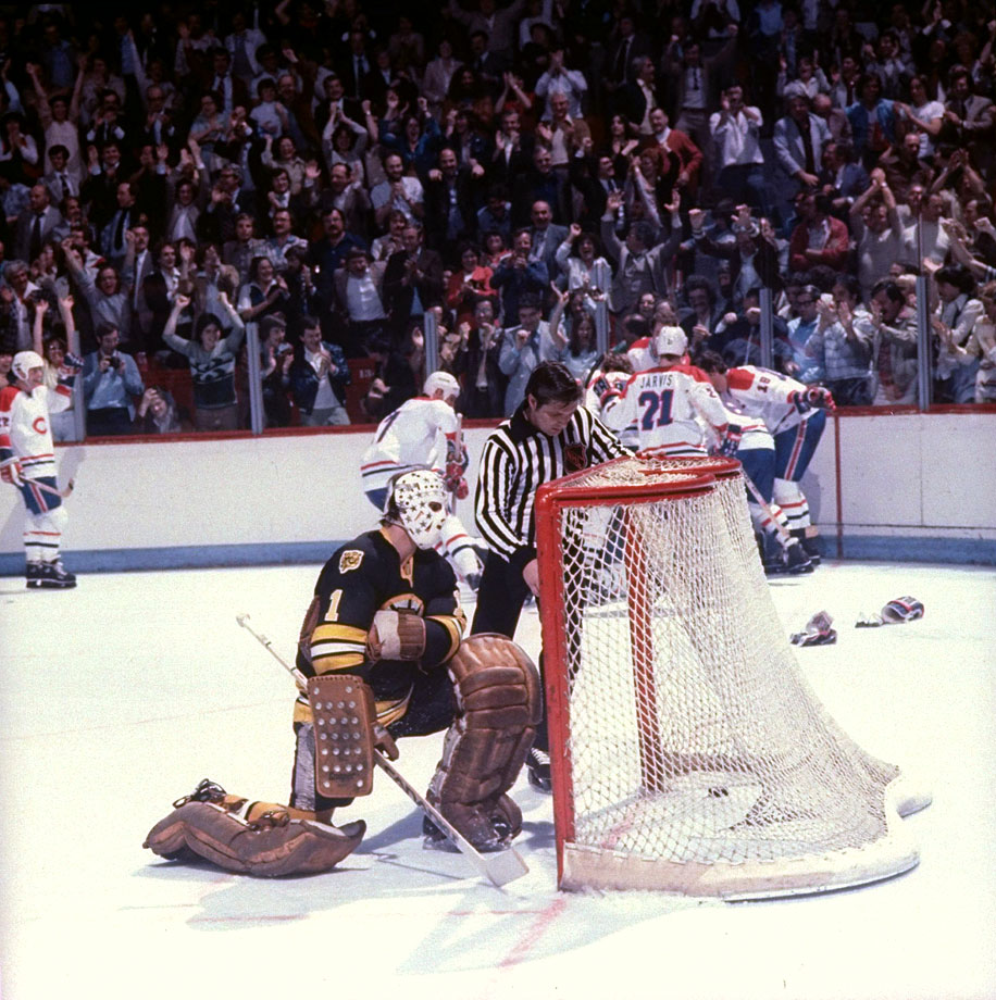 Don Cherry probably still lies awake thinking about this one. His Bruins had a 4-3 lead against the three-time defending Stanley Cup champions with four minutes left, but got caught with too many on the ice. Guy Lafleur's subsequent power-play goal tied the game with 74 seconds to go. Yvon Lambert delivered the crushing blow with a goal at 9:33 of OT.