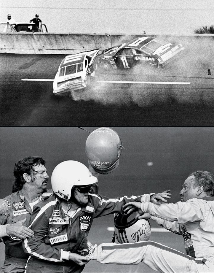 A snowbound East Coast watched the first live flag-to-flag Daytona 500 in 1979 and bore witness to one of the more sublime moments in NASCAR history as Donnie Allison, later aided by his brother, Bobby, and Cale Yarborough fought on the side of the track. Donnie Allison had sparked a wreck when Yarborough attempted to pass for the lead on the last lap, allowing Richard Petty to steal away with the win. The spectacle ignited a new national interest in what had been a Southern pastime.