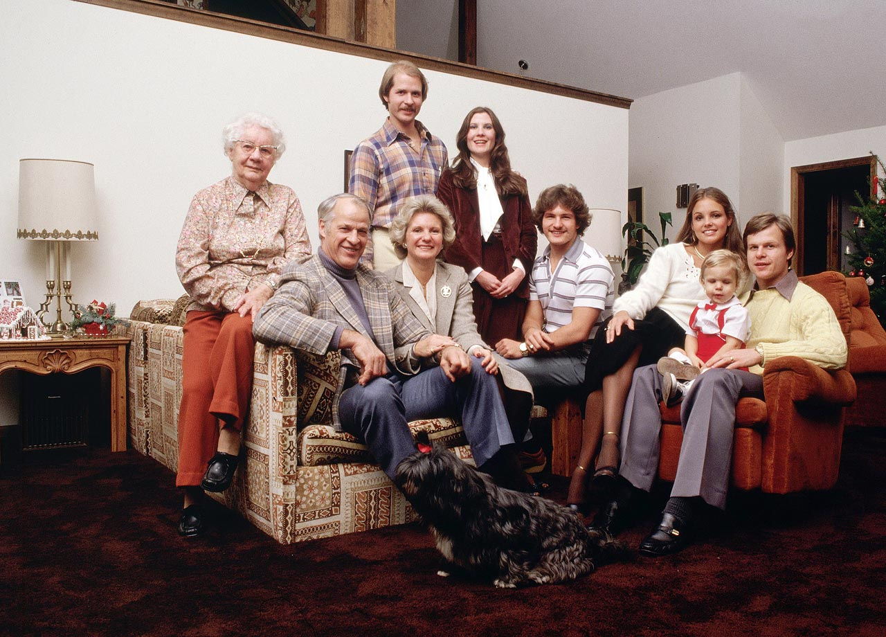 The Howe family pose for a portrait at home in Connecticut. The 51-year-old Gordie was in the midst of his final season of pro hockey. He would later return for one shift with the Detroit Vipers of the International Hockey League in 1997 to become the first player in the sport's history to play professionally in six consecutive decades.