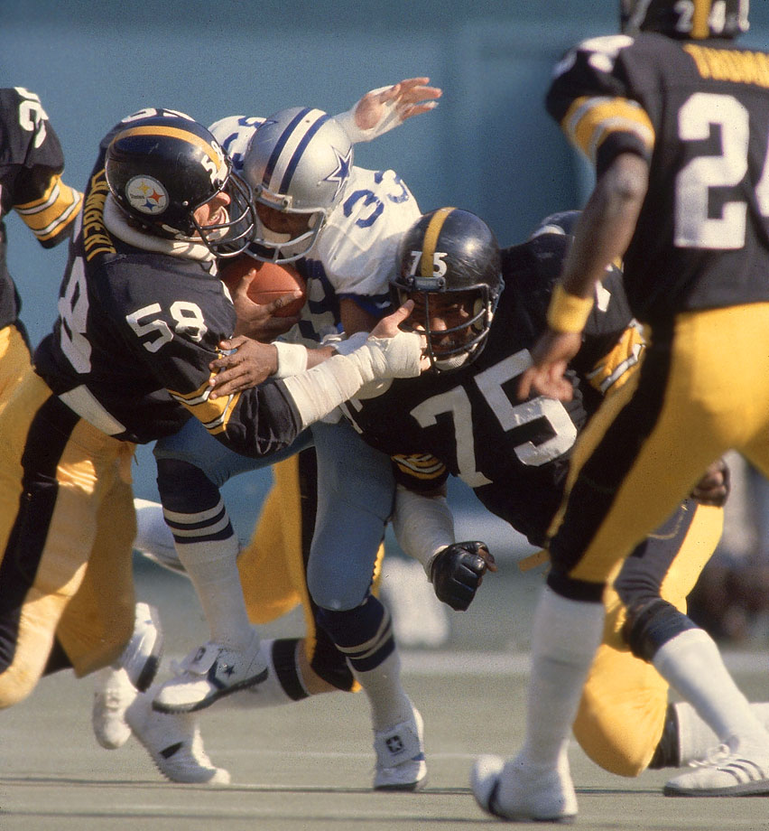 tackling Tony Dorsett with Jack Lambert