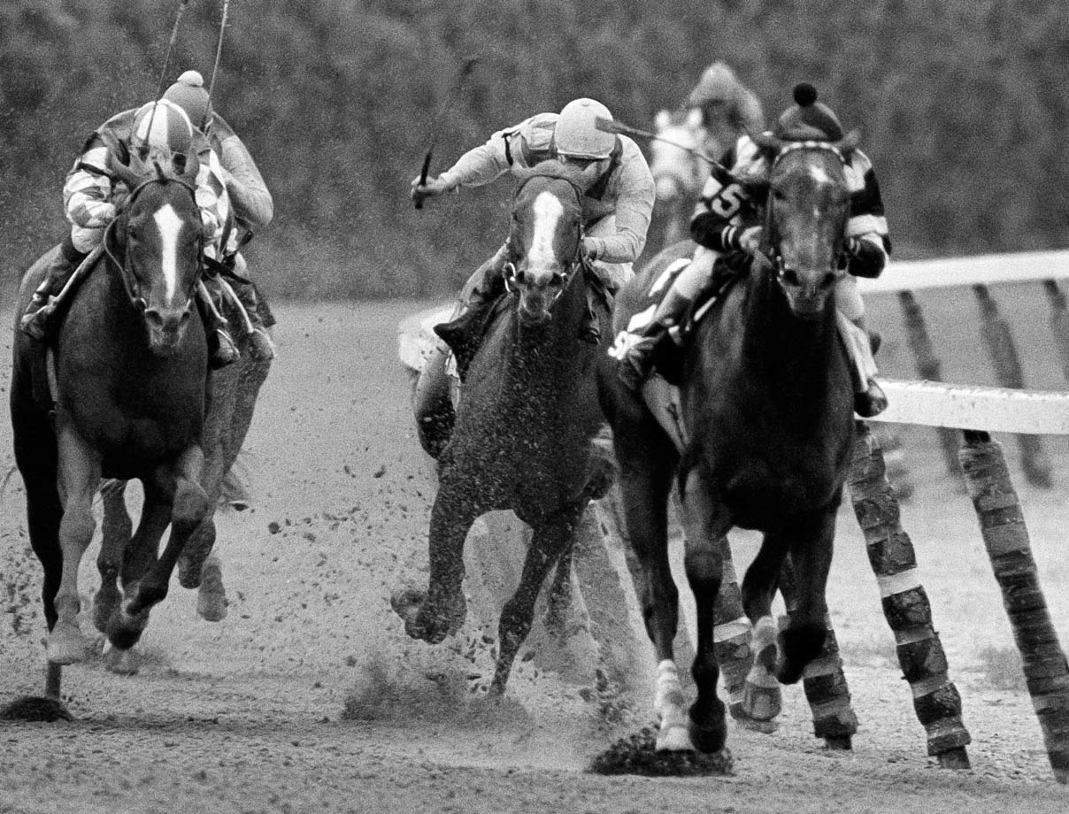 "Just one year after Affirmed, Spectacular Bid seemed poised to become the third Triple Crown winner in as many seasons. Legend has it that a safety pin became lodged in the colt's hoof the night before the Belmont, where ""The Bid"" (right) finished a lackluster third. Coastal (center) would become the first supplemental entry to ever win the Belmont."