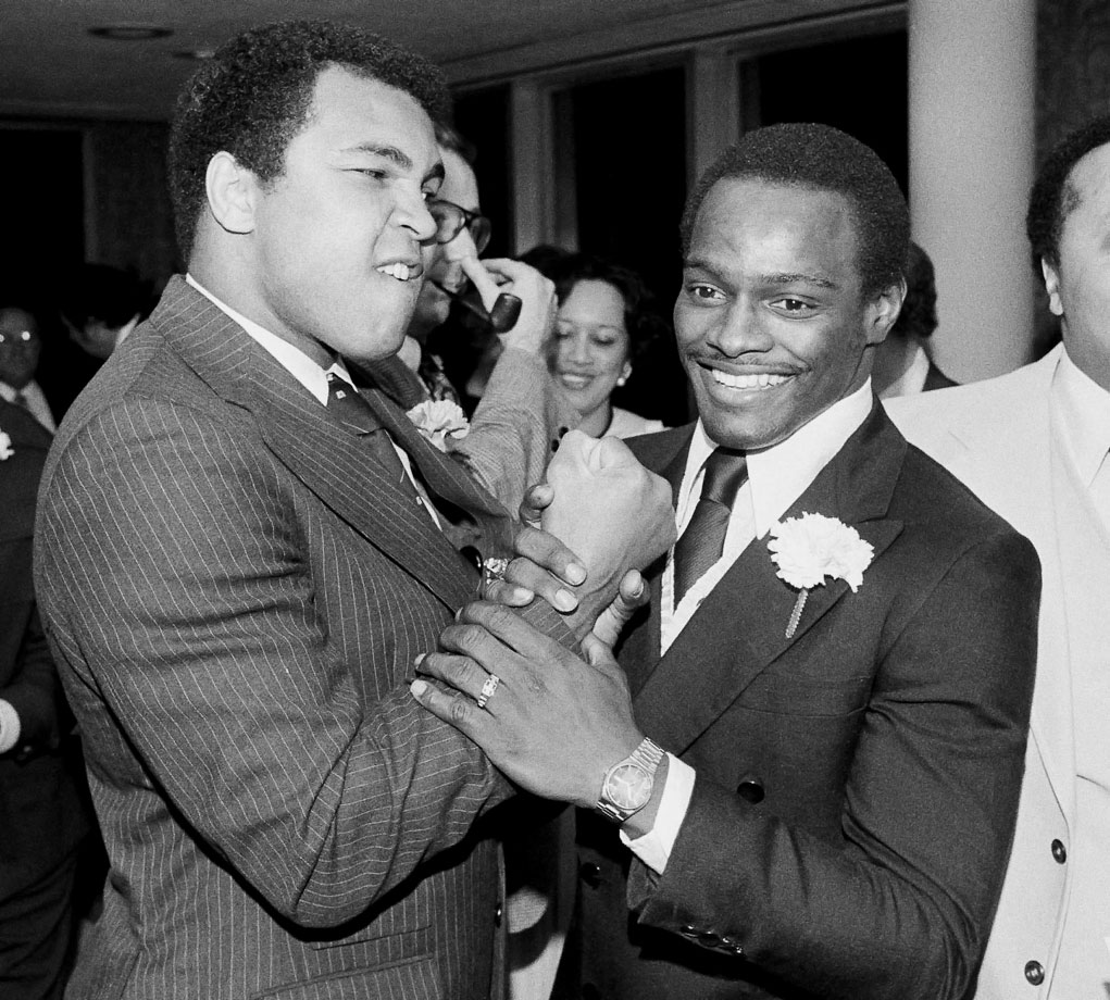 Payton grabs a playful punch from world heavyweight boxing champion Muhammad Ali, who received the Humanitarian of the Year award from the Coalition for Community Action in April 1979. The Chicago Bears great was also known for his humanitarian work. After his death, the NFL Man of the Year Award, which Payton won in 1977, was renamed the Walter Payton Man of the Year Award.