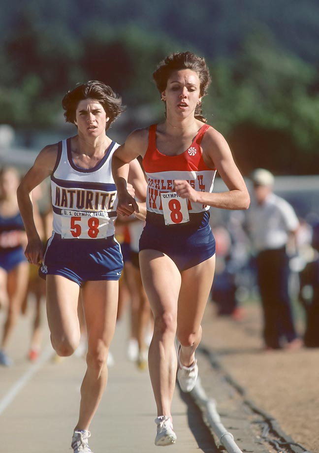 Mary Decker and Julie Brown (#58) in the 1,500-meter race of the 1980 USA Track and Field Olympic Trials.
