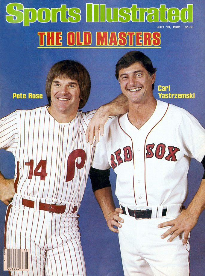 Pete Rose and Carl Yastrzemski pose for the July 19, 1982 cover of Sports Illustrated during All Star weekend in Montreal.