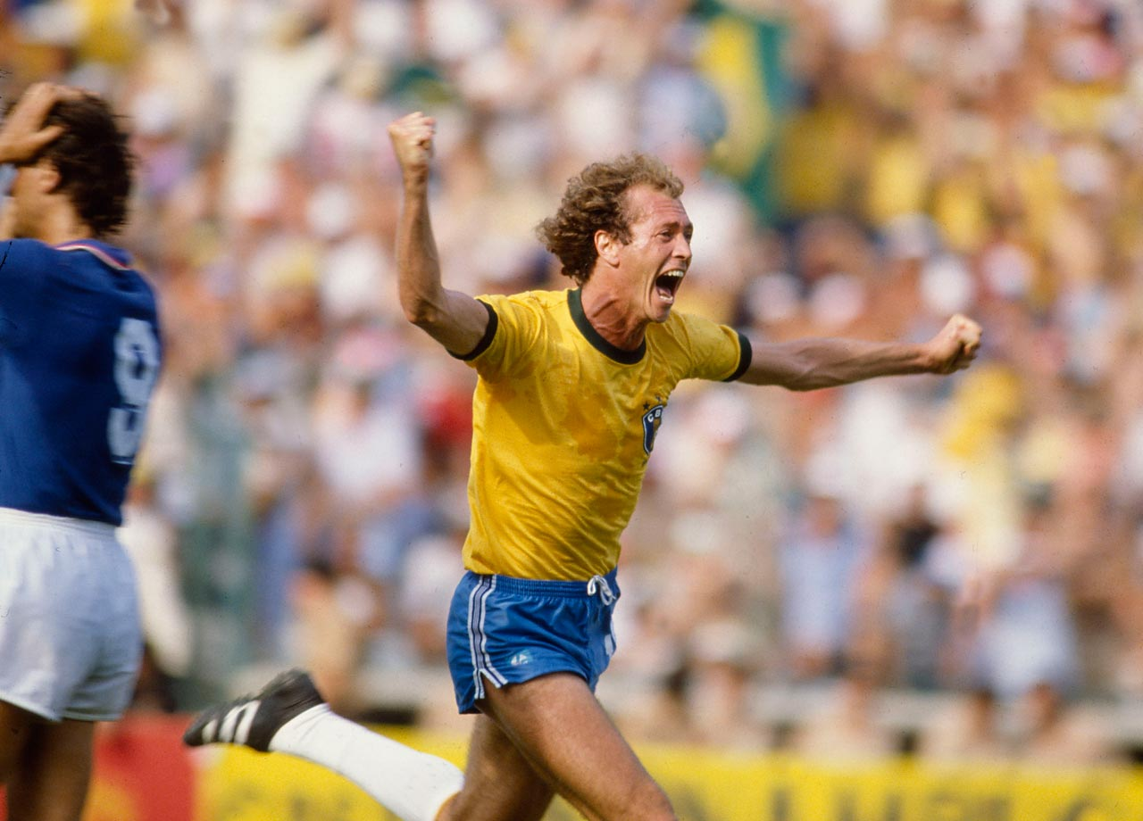 Paulo Roberto Falcao of Brazil celebrates a goal in the 1982 World Cup quarterfinal against Italy.