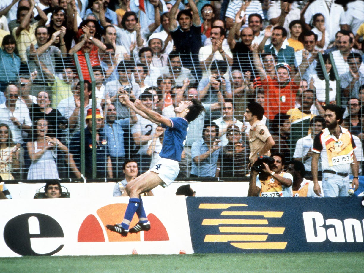Marco Tardelli of Italy goes nuts after scoring in the 1982 World Cup final on a wonder goal against West Germany.