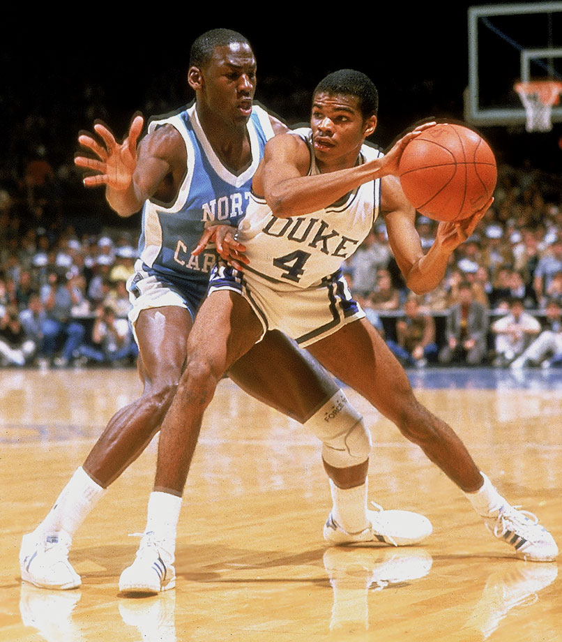 Michael Jordan plays aggressive defense against Duke's Tommy Amaker in a 1984 ACC Tournament semifinal. North Carolina entered the NCAA Tournament ranked No. 1 in the nation, but Indiana upset the Tar Heels in the Sweet 16.