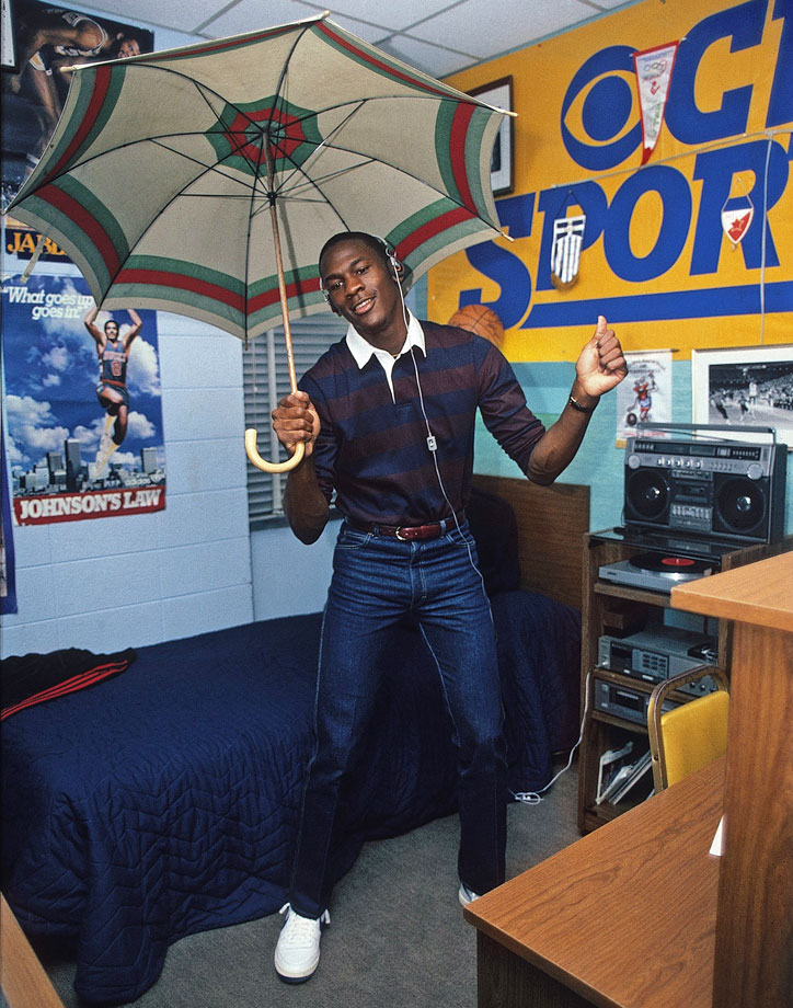 "Michael Jordan dances to Lionel Richie's ""All Night Long"" in his dorm room in November 1983. North Carolina entered the 1983-84 season ranked No. 1 in the nation, earning Jordan his first SI cover appearance and photo shoot."