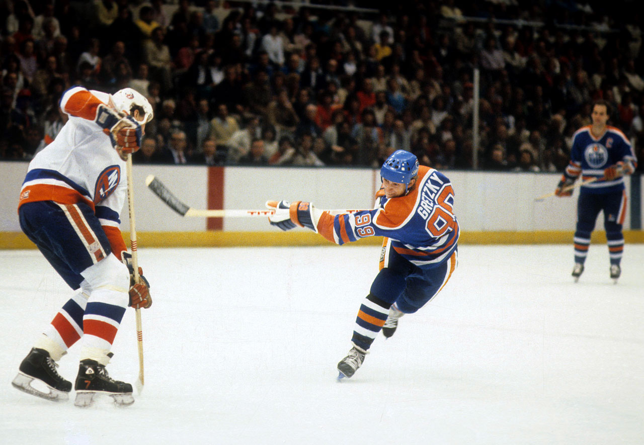 The Great One's up and coming Oilers ran into a brick wall in the '83 final, where the Islanders swept the series. Gretzky, who was coming off a 71-goal, 196-point regular season, was held scoreless by the airtight defense of the Islanders, who won their 16th consecutive playoff series en route to an NHL-record 19 in a row.