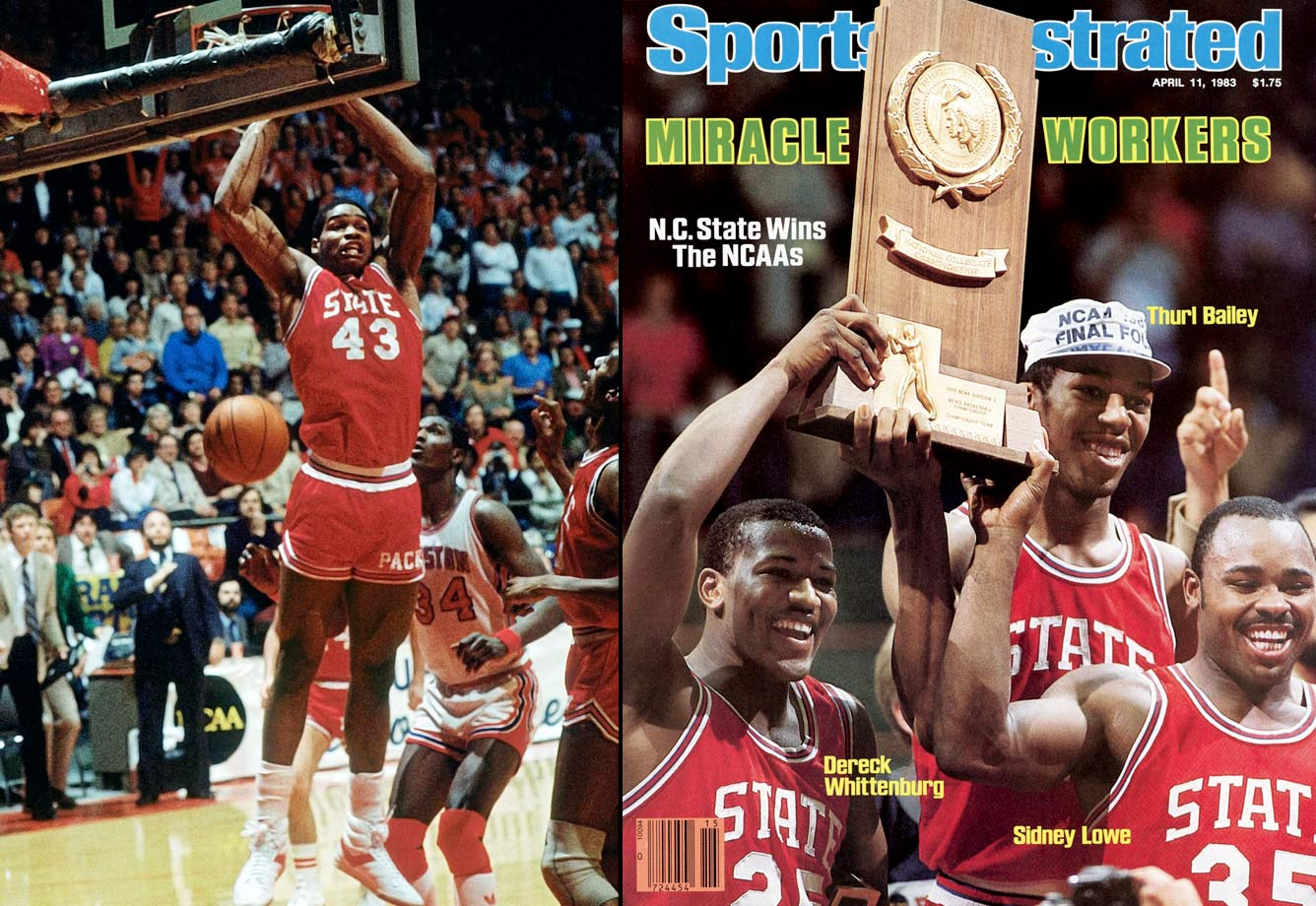 Sixth-seeded NC State was all but counted out against Houston and Phi Slamma Jamma. It was just inches from being another almost-was when Dereck Whittenburg's air ball began dropping just shy of the net until Lorenzo Charles rose to dunk the ball home at the buzzer and snatch the championship for the Wolfpack.