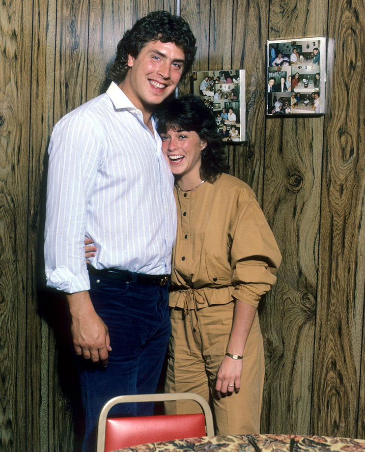 Dan Marino poses with his fiancee Claire Veasey at their home in Miami on Nov. 26, 1984.  The two have been married for over 29 years.