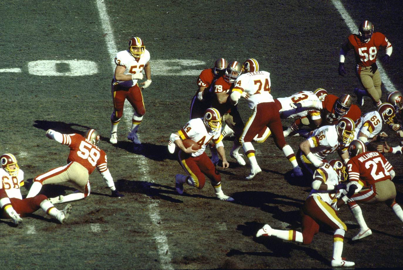 Washington entered the fourth with a commanding 21-0 lead, but the 49ers mounted a furious comeback, tying the game at 21 with just over seven minutes left. The Redskins responded with a clinical 13-play, 78-yard drive that took six minutes off the clock and set up kicker Mark Moseley—who was 0-for-4 on field goals in the game—for his game-winning 25-yarder. Washington's John Riggins (44) rushed for 123 yards and two touchdowns.