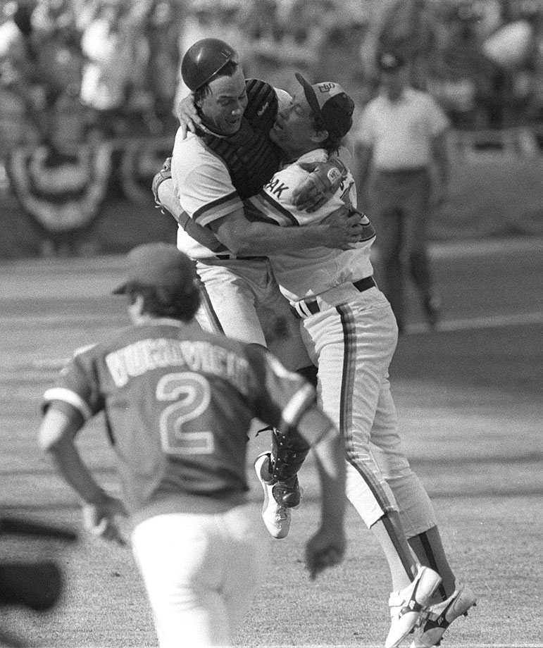 The Padres first postseason appearance was Gossage's last. He saved the pennant-clinching 6-3 win over the Cubs with two shutout innings in the decisive Game 5, then celebrated the last out with catcher Terry Kennedy.