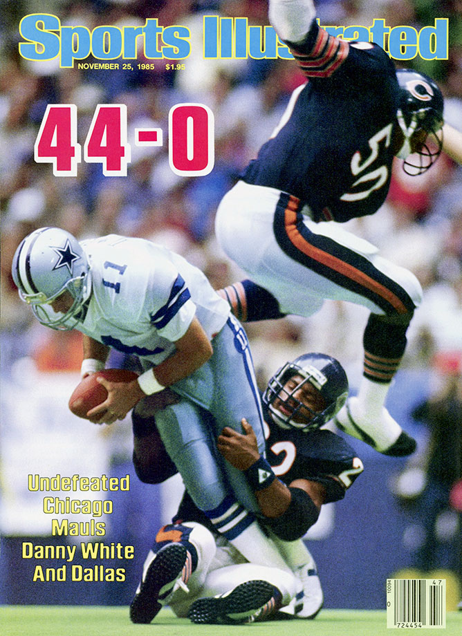 The only blotch on this Super Bowl-winning team's record all season was a 38-24 loss to the Dolphins in Week 13. Before that defeat, the Bears had outscored their previous three opponents 104-3, led by such defenders as Mike Singletary, Richard Dent and Dan Hampton.