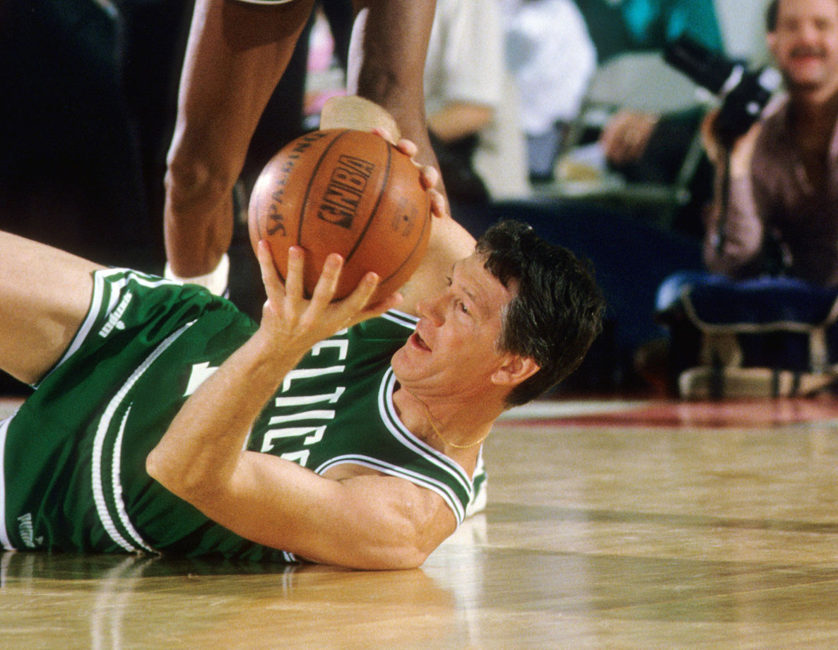 John Havlicek grabs a loose ball during the Celtics' Old Timers Night reunion game at Matthews Arena on Northeastern University campus in Boston.