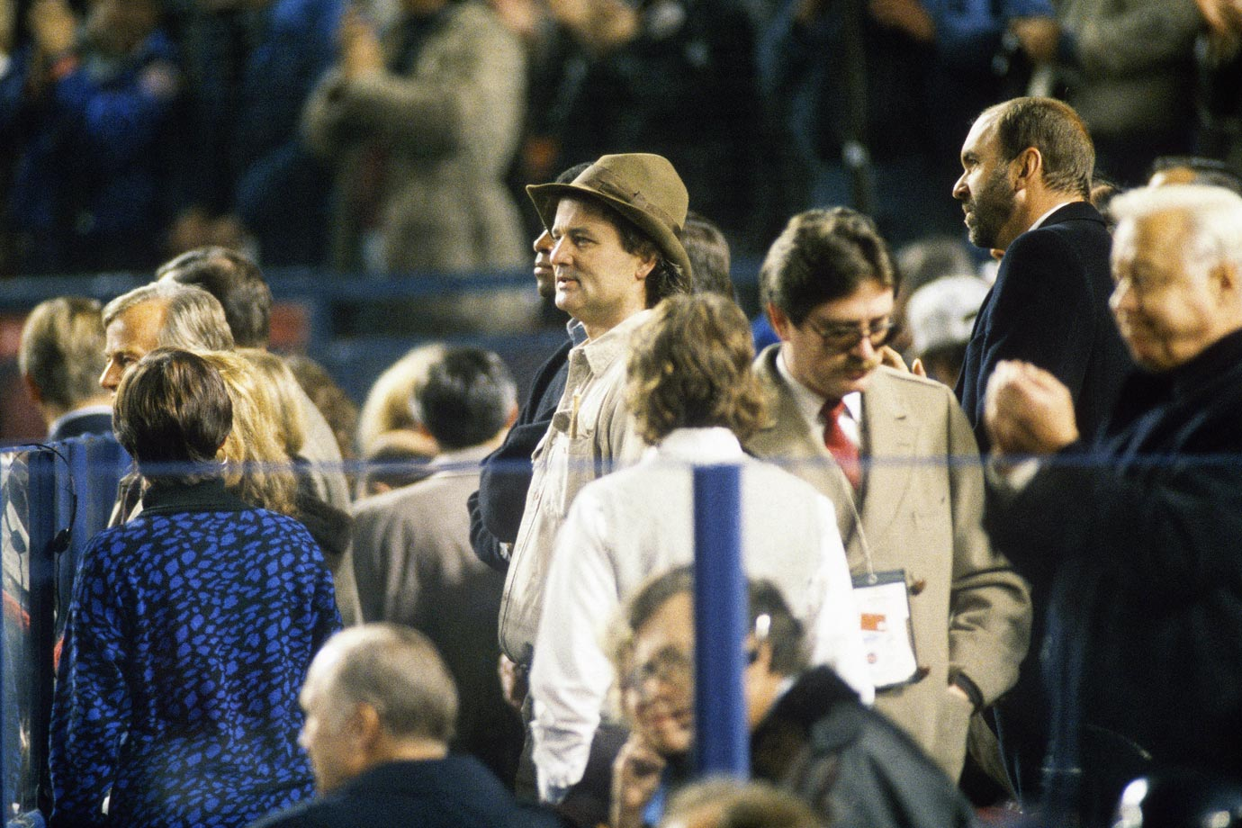 Bill Murray takes in the festivities during the 1986 World Series at Shea Stadium in Flushing, N.Y.