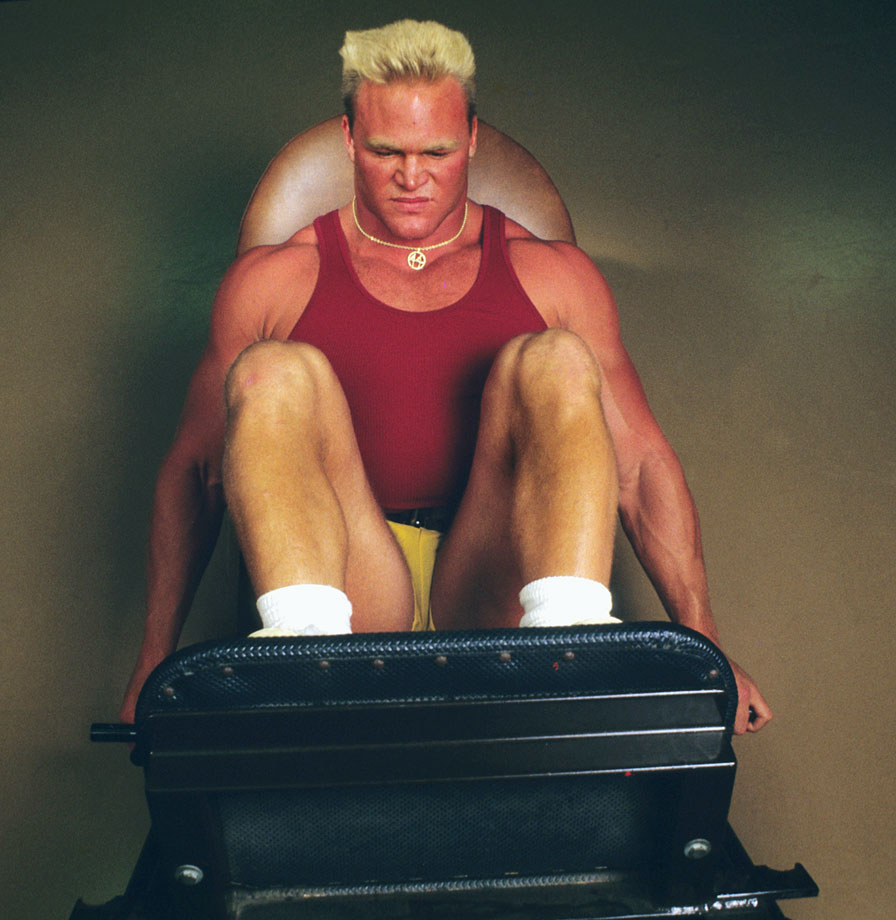 Bosworth, seen here working out, was barred from playing in the 1987 Orange Bowl after testing positive for anabolic steroids.