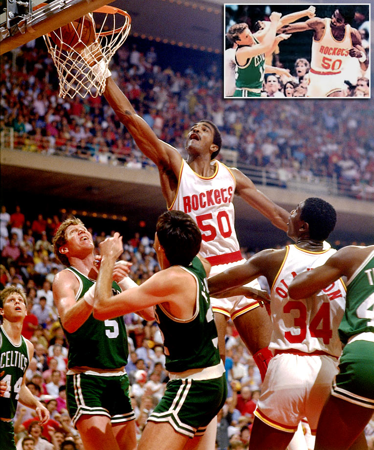 Ralph Sampson brawled with Boston guard Jerry Sichting (inset) early in the game and subsequently cursed in a live interview with CBS just moments after both players were ejected. The Rockets then routed the Celtics to extend the series to a sixth game. The Celtics won Game 6 at Boston Garden to claim their 16th championship.
