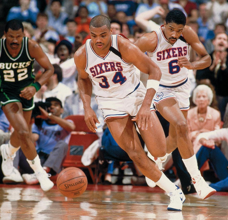 Dr. J and Charles Barkley helped the Sixers reach the playoffs in Erving's final season, but Philly lost in the first round to Milwaukee.