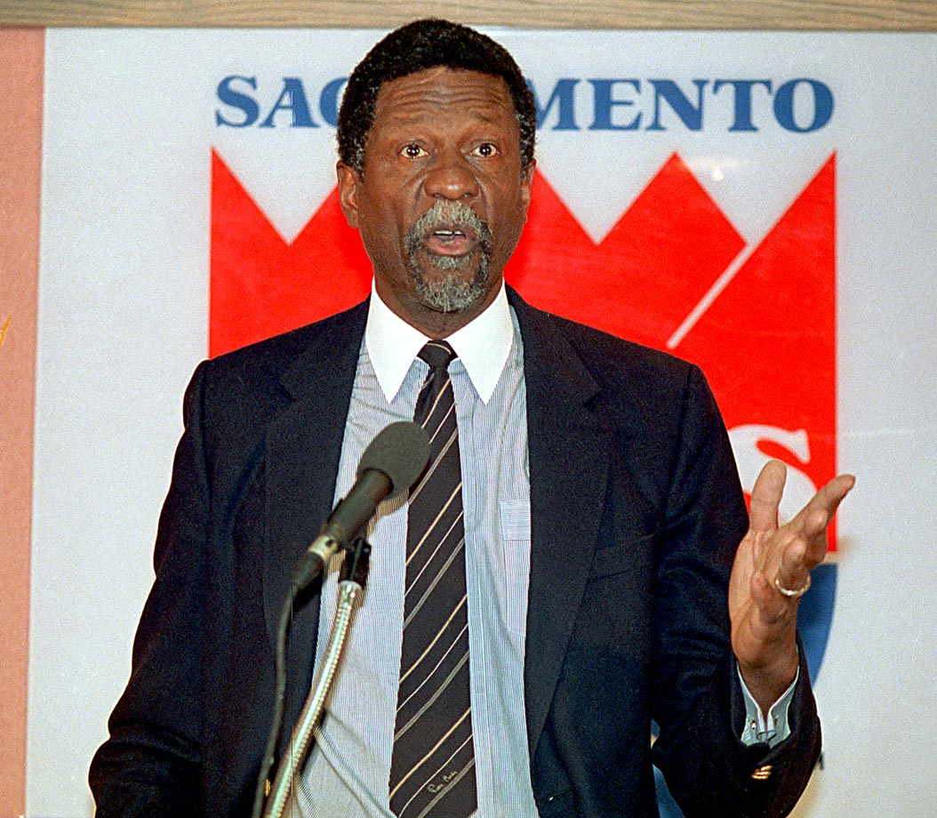 Bill Russell speaks with reporters after being named head coach of the Sacramento Kings. He struggled in his third stint as coach -- after three successful seasons as Boston's player-coach and four mediocre years with Seattle. Russell lasted less than a season, compiling a 17-41 record.