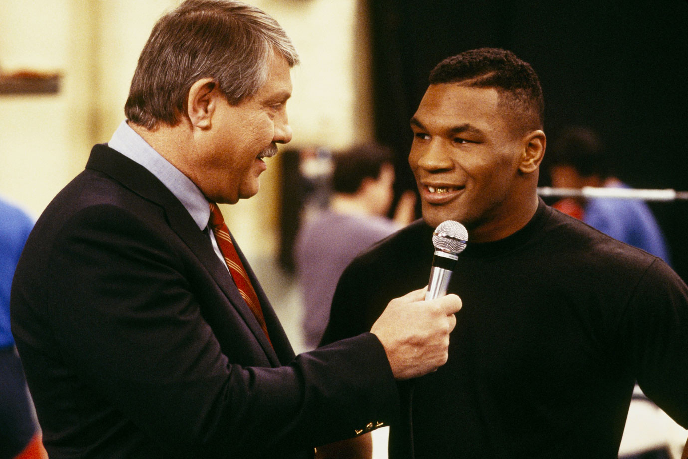 "Alex Karras interviews Mike Tyson during ""The K.O. Kid"" episode of Webster, which aired on Feb. 27, 1987."