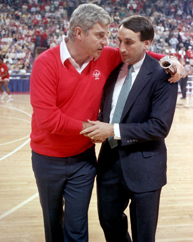 Bobby Knight puts his arm around Mike Krzyzewski before the Indiana-Duke NCAA Midwest Regional semifinal game in 1987. Krzyzewski played for Knight at Army and coached under him at Army and Indiana.