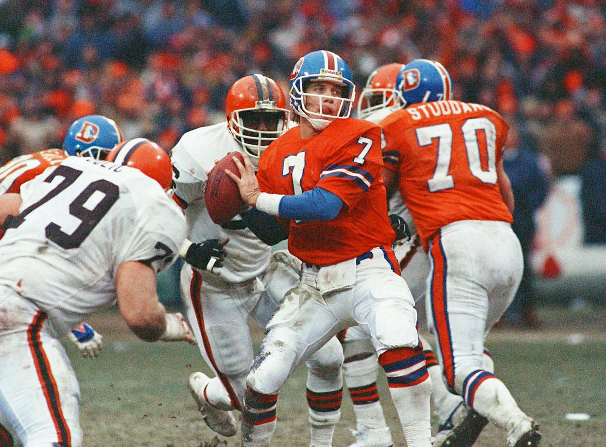 "The Broncos trailed by a touchdown with 5:32 left when they took over on their two-yard line. John Elway then orchestrated what's known as ""The Drive,"" tying the score with 37 seconds left on a five-yard pass to Mark Jackson. The pivotal play on the march was a different Elway-to-Jackson connection: a 20-yard pass play on a third-and-18. Denver won in overtime."