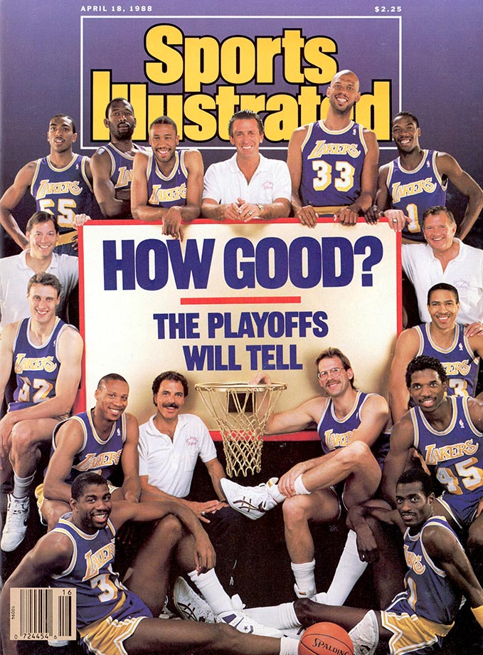(Clockwise) Billy Thompson (55), James Worthy (42), Milt Wagner (20), coach Pat Riley, Kareem Abdul-Jabbar (33), Wes Matthews (1), assistant coach Bill Bertka, Mychal Thompson (43), A.C. Green (45), Michael Cooper (21), Kurt Rambis (31), trainer Gary Vitti, Magic Johnson (32), Byron Scott (4), Mike Smrek (52), and assistant coach Randy Pfund