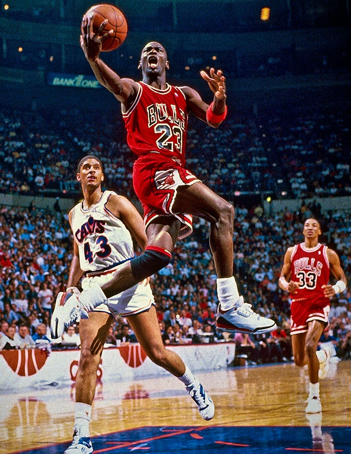 Michael Jordan goes up for a layup after blowing past Brad Daugherty of the Cleveland Cavaliers in Game 4 of a first-round playoff series in May 1988. Jordan torched Cleveland for 38 or more points in each game of the series, but the Bulls couldn't get past the Detroit Pistons in the next round.