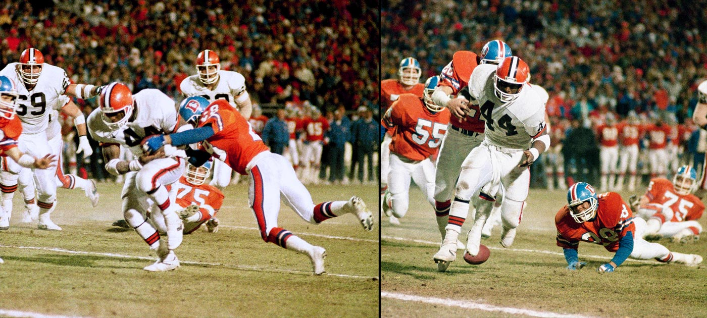"Ernest Byner was headed toward the end zone for a tying touchdown with 1:12 left when Denver defensive back Jeremiah Castille stripped the running back of the ball at the three-yard line, with the Broncos recovering the rock to preserve their second straight trip to the Super Bowl. Byner's foible will forever be known as ""The Fumble."""