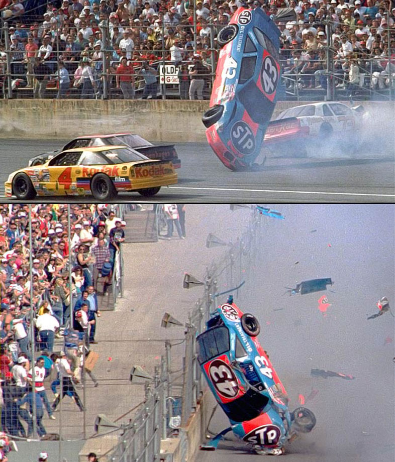 Richard Petty's No. 43 Pontiac was involved in one of the most horrifying wrecks in the history of a speedway that has been the stage for ... horrifying wrecks. Petty was launched into the fence on Lap 106 and his car rolled along the fenceline, down the front stretch until tumbling back onto the track and disgorging parts as it was rammed by another race car. Petty walked away virtually unharmed except for a temporary vision problem.