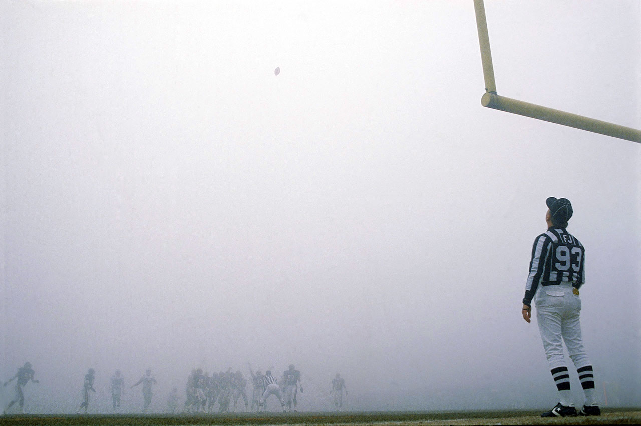 Referee Jack Vaughn tries to follow an Eagles' field goal attempt during the Fog Bowl, an NFC divisional playoff game against the Bears.