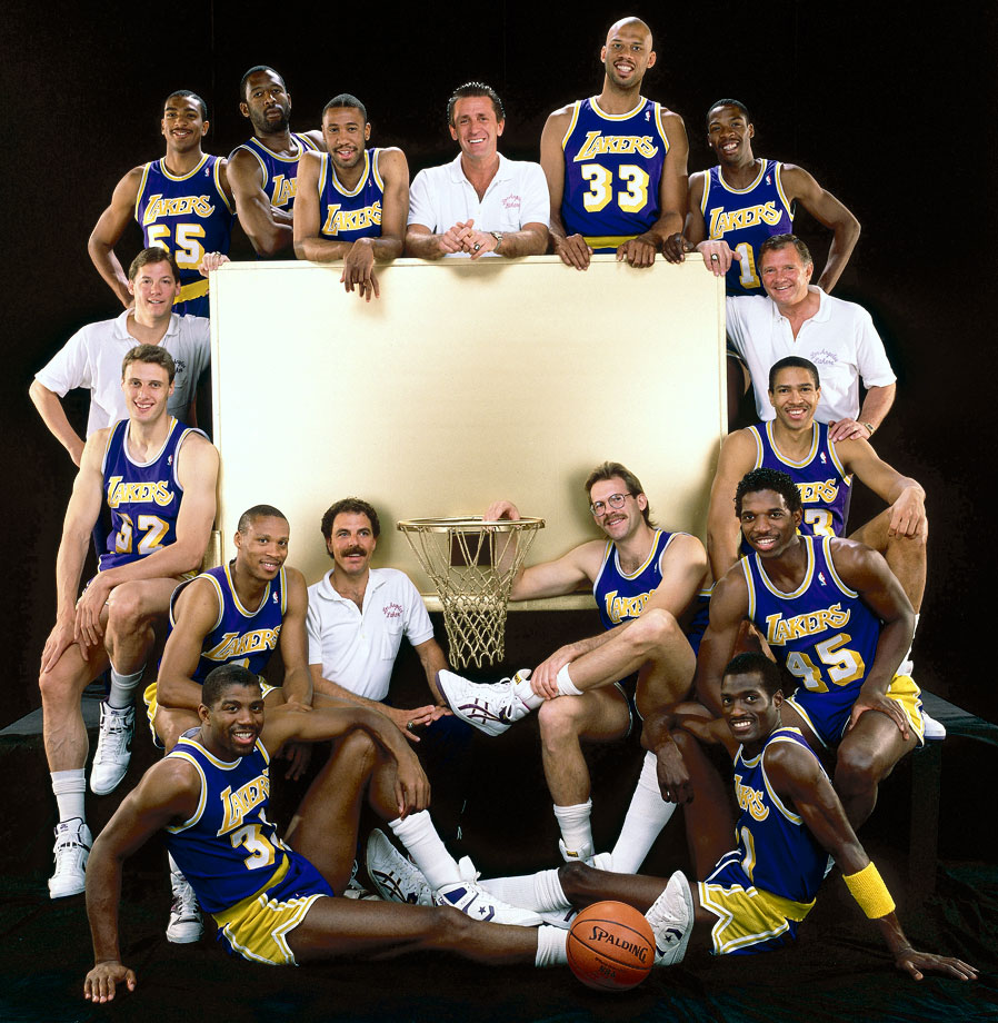 with Pat Riley and Lakers teammates