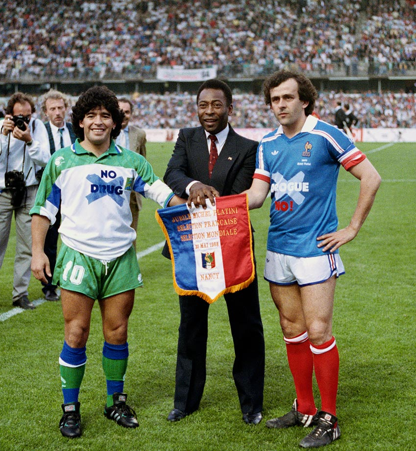 A spokesperson as well as an athlete, Pelé promotes an anti-drug campaign before a match with Diego Maradona and Michael Platini on May 23, 1988 in France. He used his fame to make a difference after soccer, serving as the United Nations ambassador for ecology and the environment.