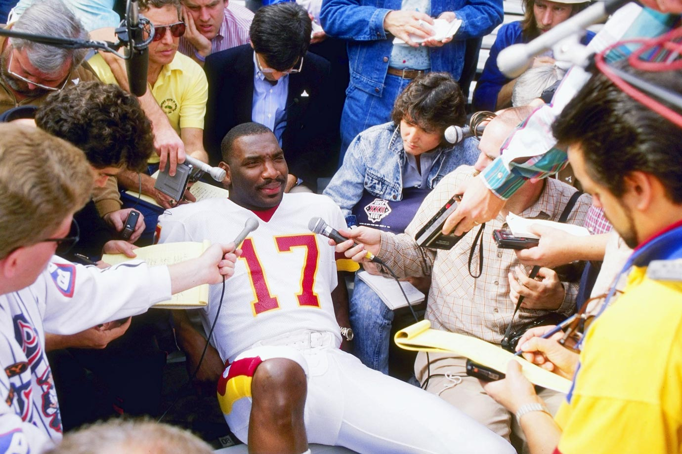 A relaxed Doug Williams fields questions during Media Day for Super Bowl XXII in San Diego. The quarterback led the Redskins to a 42-10 victory over Denver.