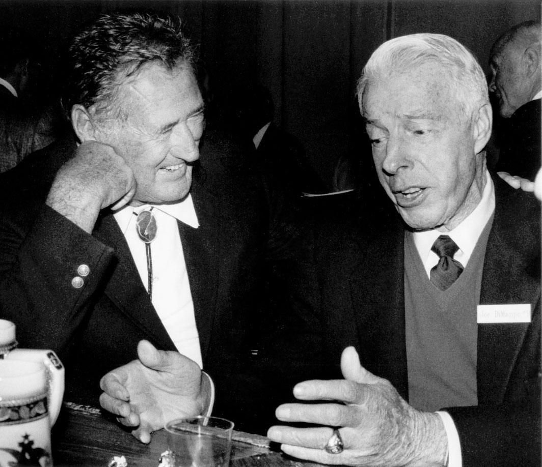 Ted Williams and Joe DiMaggio share a laugh in 1988.