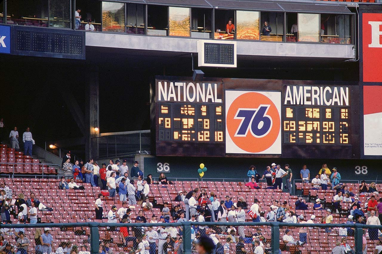 The scoreboard at Candlestick Park is seen malfunctioning after the earthquake.