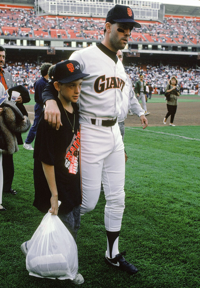 Will Clark of the San Francisco Giants and his brother Scott walk off the field at Candlestick Park.