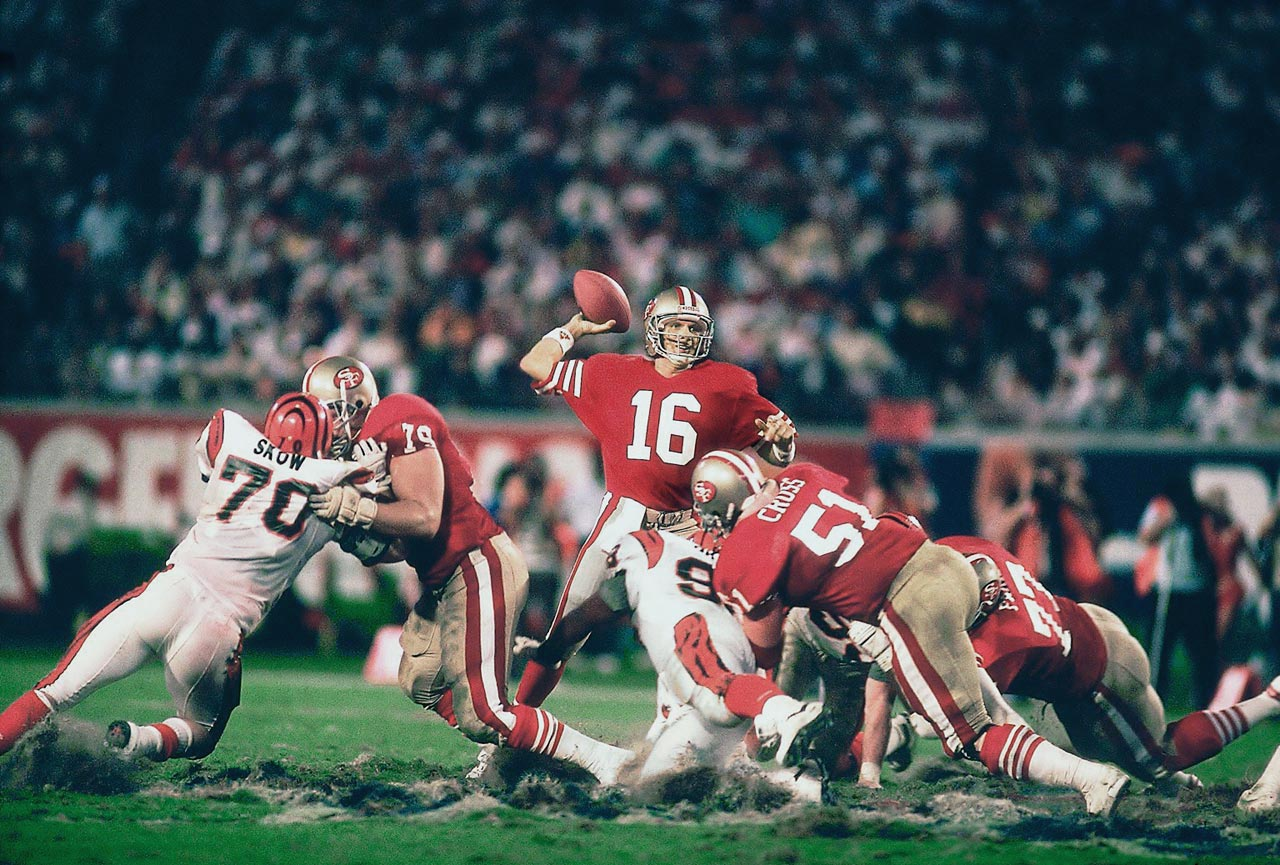 With only 3:10 left in the game, Joe Montana marched the 49ers 92 yards down the field to beat the Bengals 20-16 in Super Bowl XXIII.