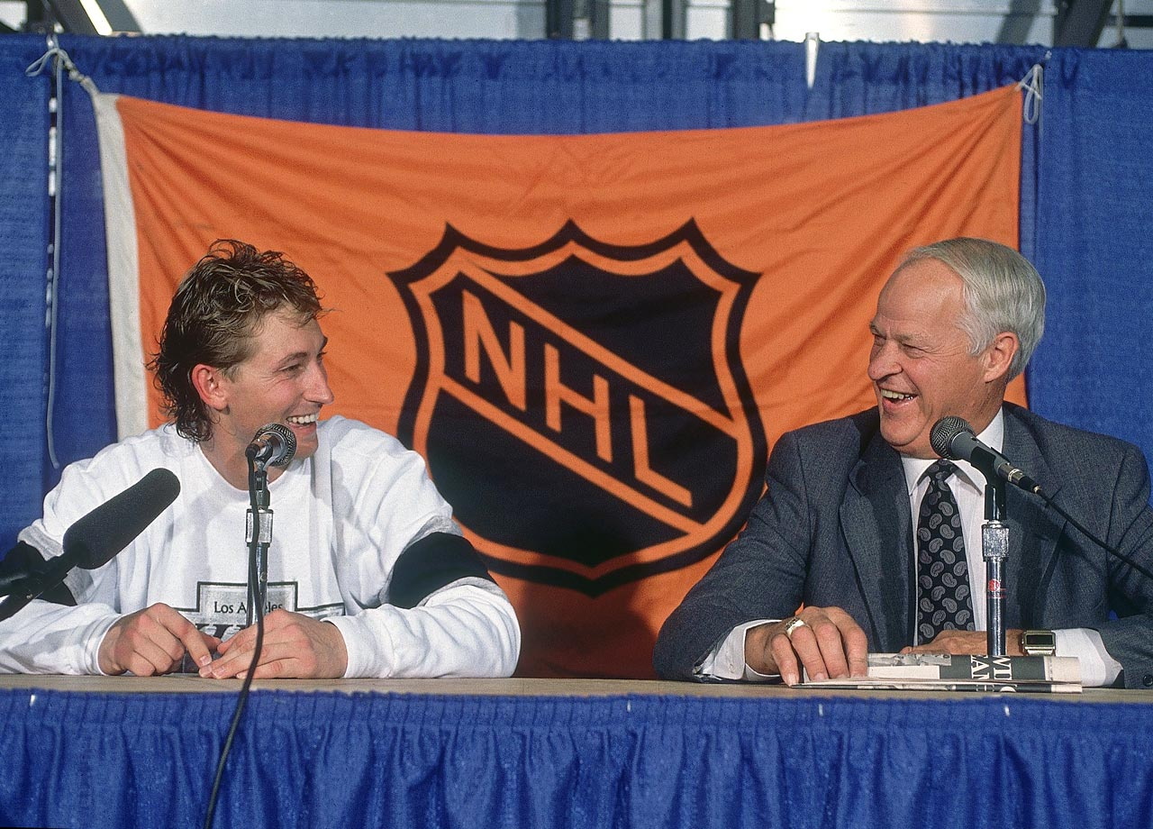 Wayne Gretzky and Gordie Howe share a laugh during a press conference after Gretzky broke Howe's career points record during the Los Angeles Kings game against the Edmonton Oilers at Northlands Coliseum in Edmonton, Canada.